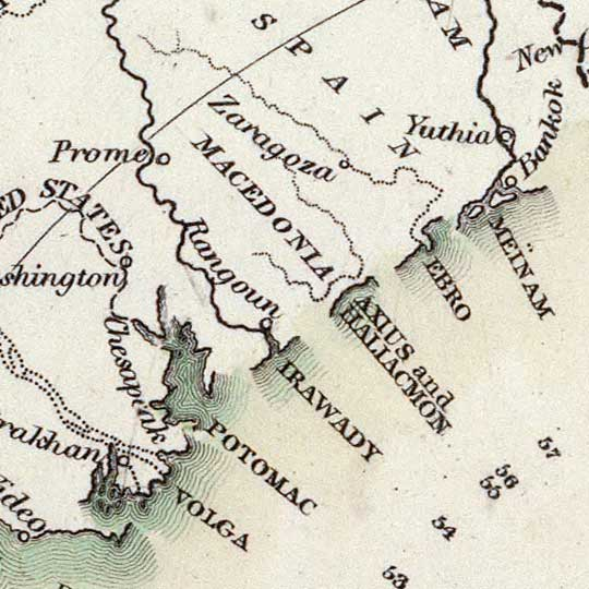 Starling's map of the principal rivers shewing their courses, countries, and comparative lengths (1834) image detail