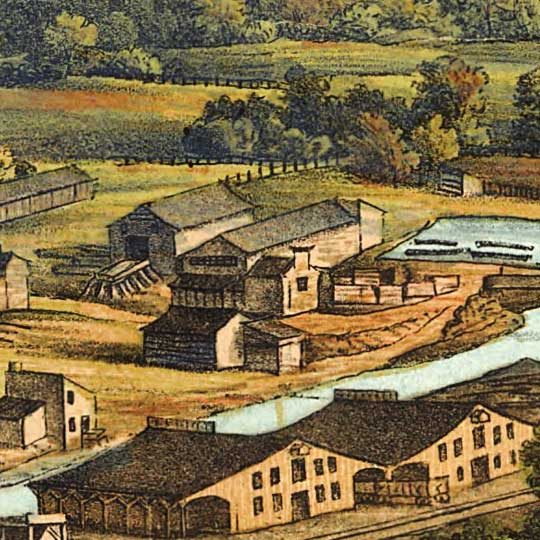 Birdseye Map of Harrisburg, Pennsylvania (1855) image detail