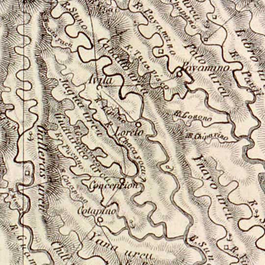 Villavicencio's Map of Ecuador in 1858 image detail