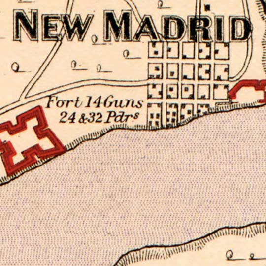 Map of Rebel Fortifications on Island No 10 near New Madrid (1862) image detail