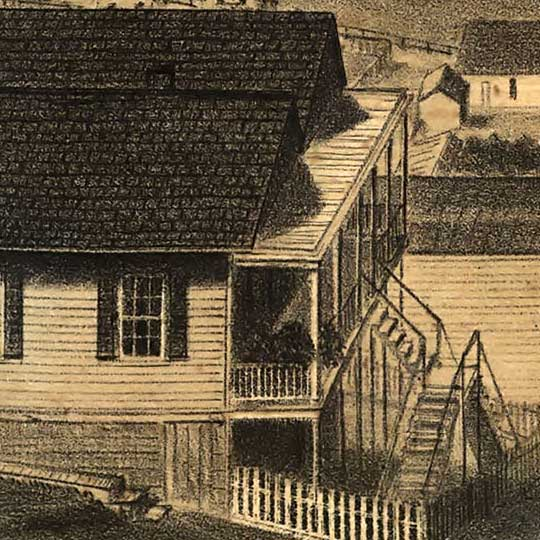 Birdseye of San Francisco from Russian Hill in 1862 image detail