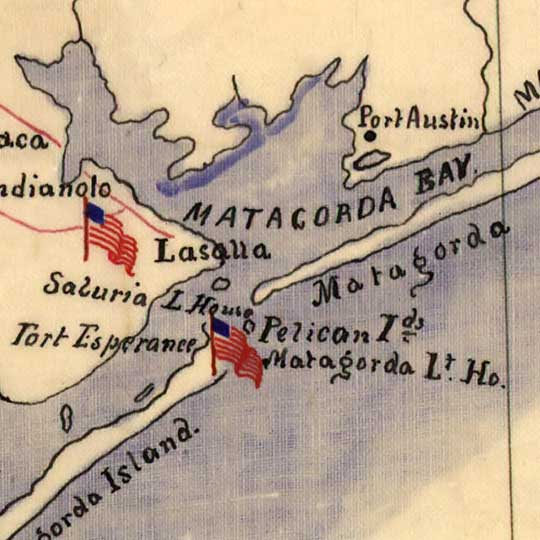 Texas Coast Showing Points of Occupation (1863) image detail