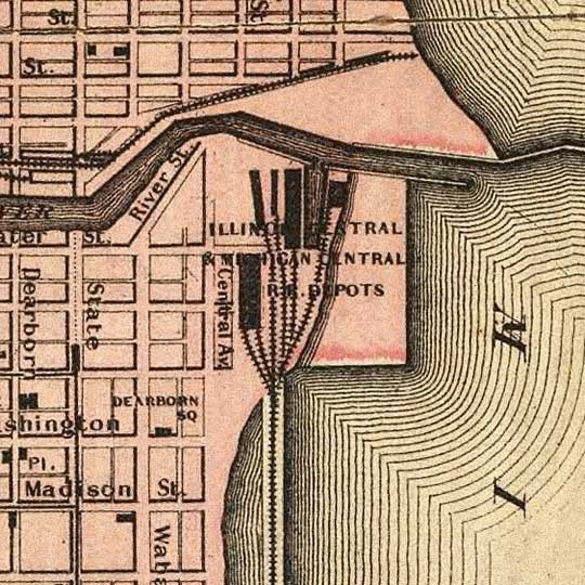 Map Of Chicago Showing The Burnt District (1871) image detail