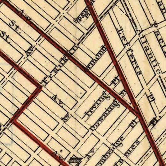 Brooklyn City Railroad Map (1874) image detail