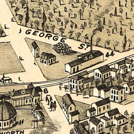 Birdseye Map of Brantford, Ontario, Canada (1875) image detail
