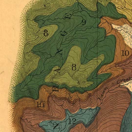 Preliminary geological map of the Yellowstone National Park (1878) image detail