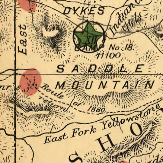 Map of the Yellowstone National Park in 1881 image detail