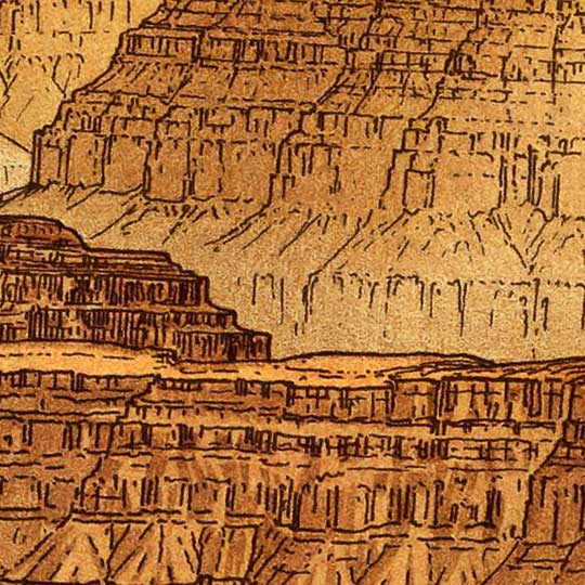 Dutton's Panorama From Point Sublime, Grand Canyon (1882) image detail