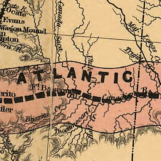 Map of the Atlantic-Pacific Railroad and Connections (1883) image detail