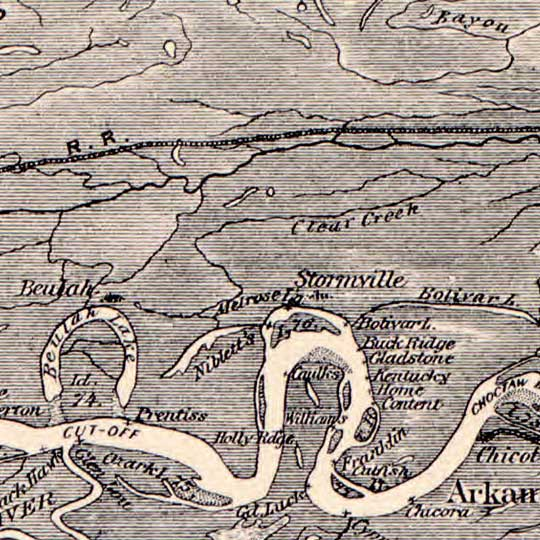 Molitor's Map of the Mississippi River from the Missouri Confluence to the Mouth (1884) image detail
