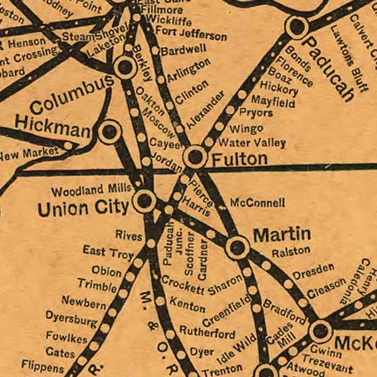 Richardson's Railroad Map of the Southern U.S. (1884) image detail
