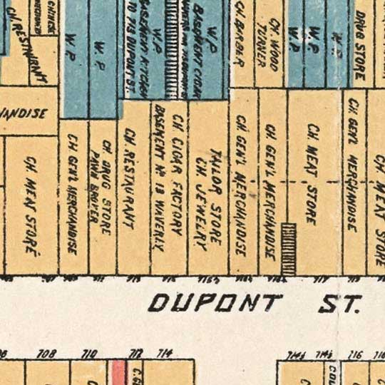Farwell's Official Map of Chinatown in San Francisco (1885) image detail