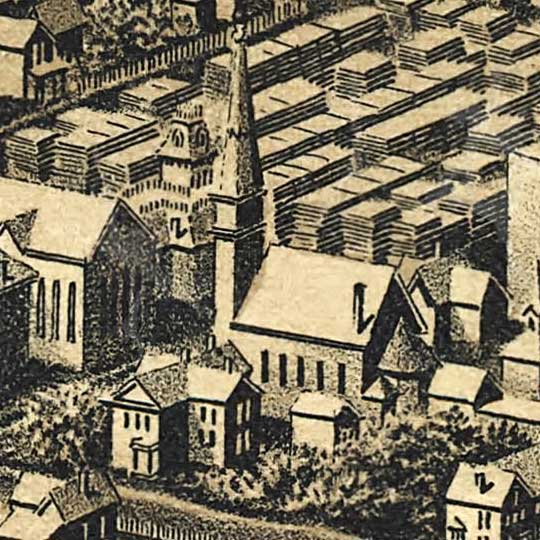 Herancourt's Birdseye of Minneapolis, Minnesota in 1885 image detail