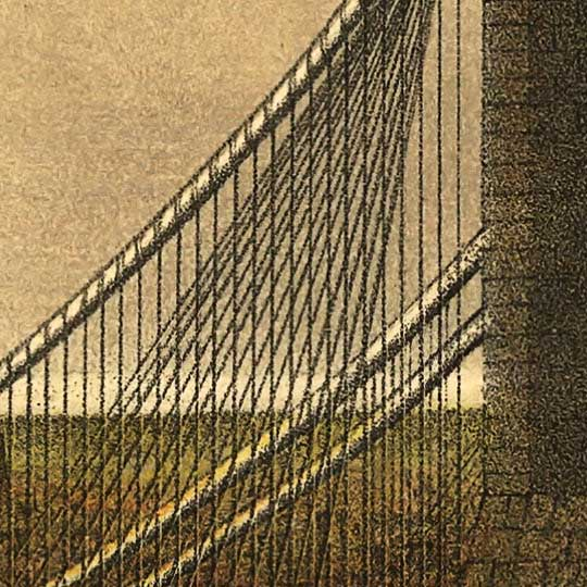 Currier and Ives print of the Brooklyn Bridge in 1885 image detail