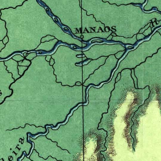Physical map of Brazil in 1886 image detail