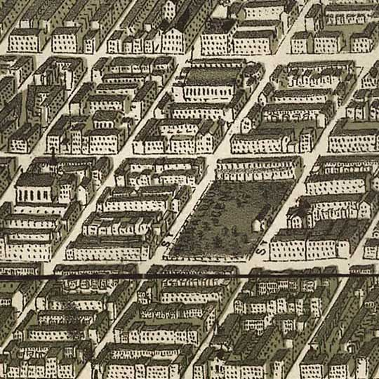 Burk and McFetridge's Birdseye of Philadelphia in 1885 image detail