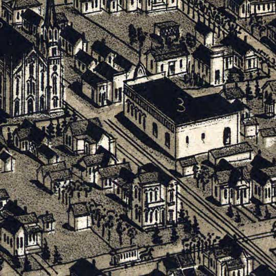Wellge's Birdseye of Waco, Texas in 1886 image detail