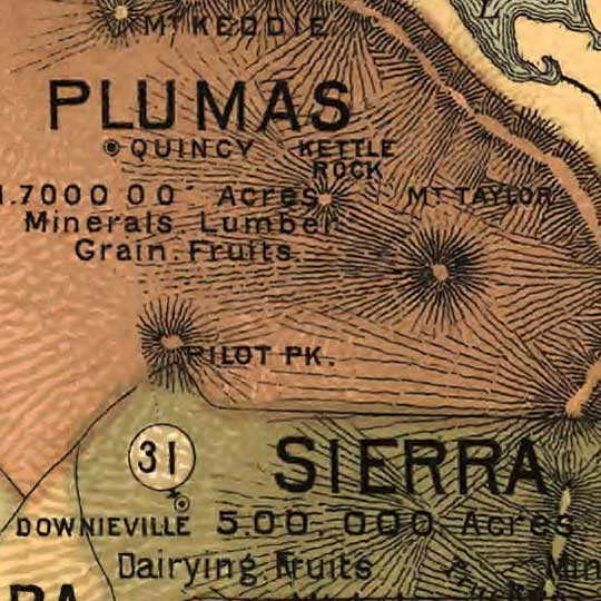 Johnstone's Unique Map of California (1888) image detail