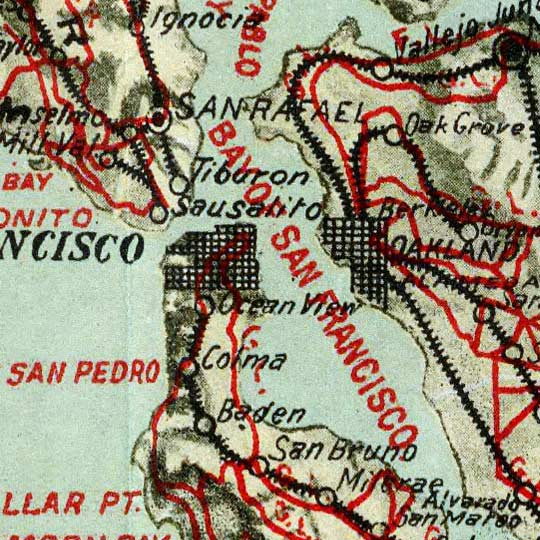 Blum's Map of California Roads for Cyclers (1896) image detail