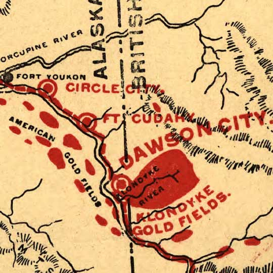 Lee's Map of the Alaskan gold fields (1897) image detail