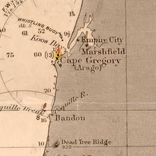 Pacific Coast from San Francisco Bay to the Strait of Juan de Fuca (1898) image detail