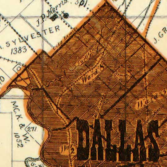 Sam Street's map of Dallas County, Texas (1900) image detail
