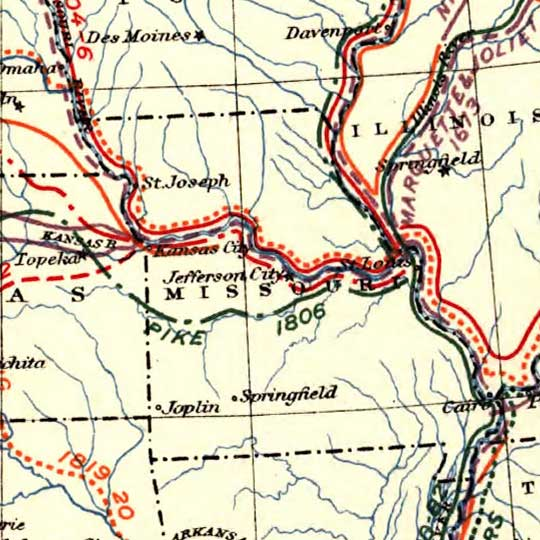 Map of the United States showing routes of principal explorers, from 1501 to 1844 image detail
