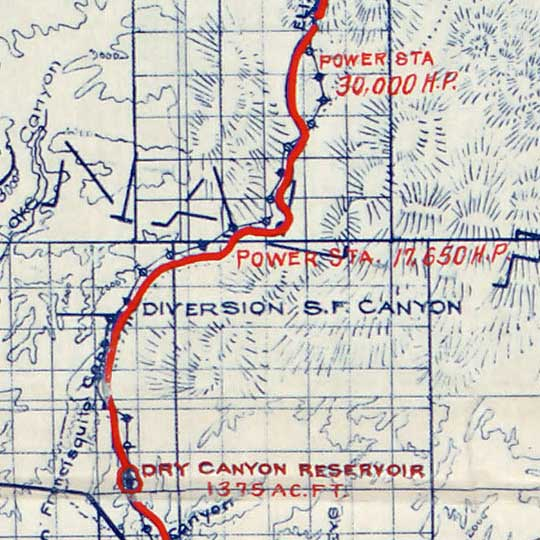 Topographic map of the Los Angeles aqueduct (1908) image detail