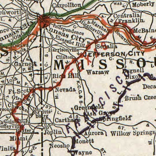 Rand McNally's Map of principal transportation lines of the United States (1921) image detail