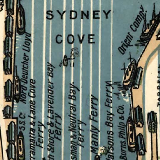 Robinson's aeroplane map of Sydney (1922) image detail