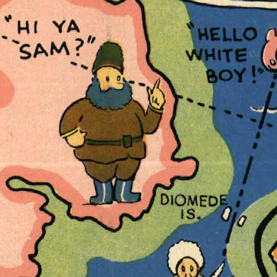 A Good Natured Map of Alaska (1934) image detail