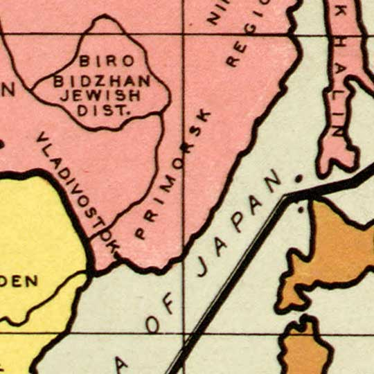 Gomberg's Outline of post-war new world map (1942) image detail
