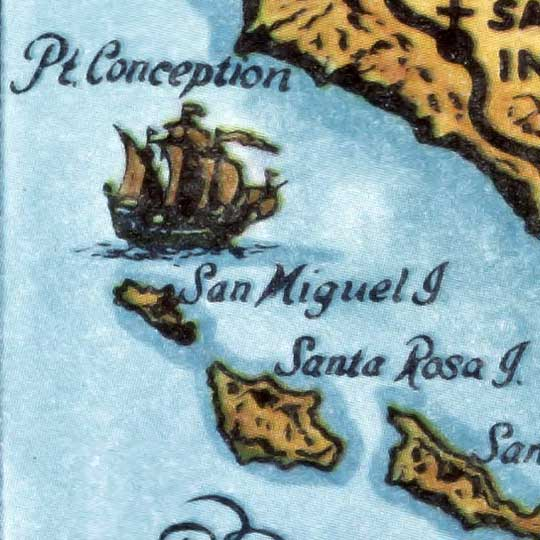 Newman's Map of California Missions (1949) image detail