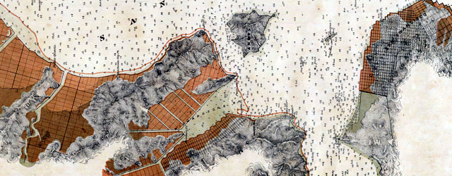 Map exhibiting the salt marsh, tide and submerged lands disposed of by the State of California in and adjacent to the bays of San Francisco and San Pablo and now subject to reclamation.  wide thumbnail image