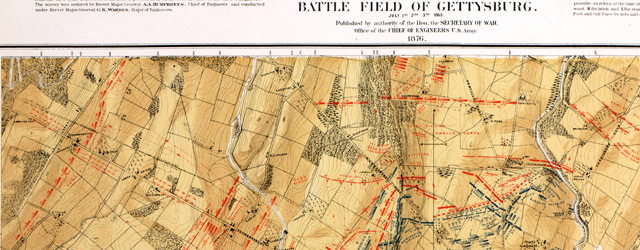 Map of the battle field of Gettysburg. July 1st, 2nd, 3rd, 1863  wide thumbnail image