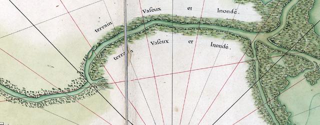 Carte du cours du fleuve St. Louis depuis dix lieues audessus de la Nouvelle Orleans jusqu'à son embouchure ou sont marquées les habitations formées, et les terrains concedez  wide thumbnail image