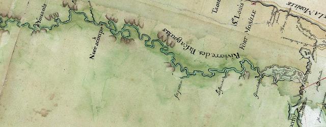Carte particulière d'une partie de la Louisianne ou les fleuve et rivierres onts etés relevé a l'estime & les routtes par terre relevé wide thumbnail image