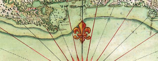Carte general de toute la côte de la Louisianne jusqu'a la Baye St. Bernard, coste de la Floride, Baye de la Mobille, Be. de Pansacole wide thumbnail image