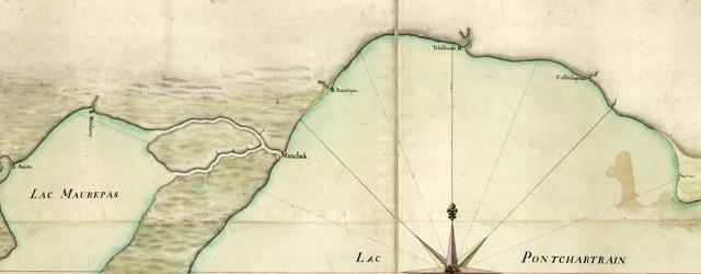 Carte particulière du cours du fleuve St. Louis depuis le village sauvage jusqu'au dessous du Detour aux Angloix, des lacs Pontchartrain & Maurepas wide thumbnail image