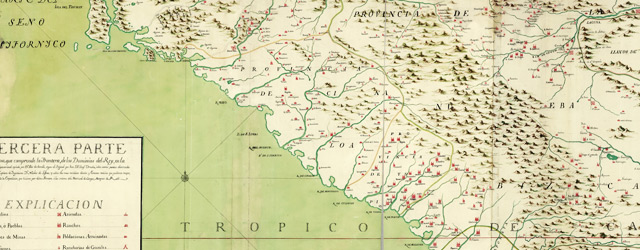 Mapa, que comprende la Frontera, de los Dominios del Rey, en la America Septentrional wide thumbnail image