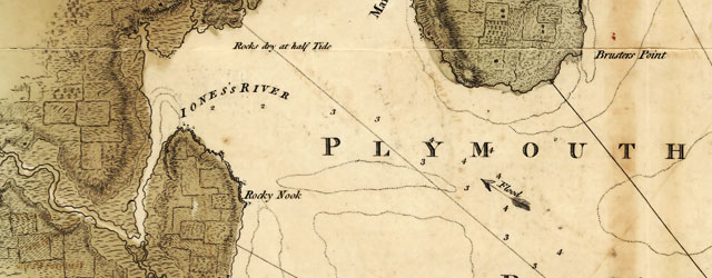 Des Barres' chart of Plymouth Bay wide thumbnail image
