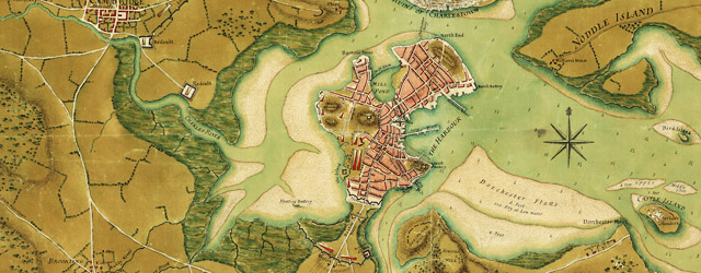 A plan of the town of Boston and its environs, with the lines, batteries, and incampments of the British and American armies. wide thumbnail image