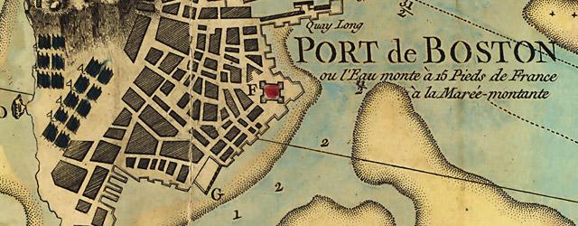Carte du port et havre de Boston avec les côtes adjacentes, dans laquel on a tracée les camps et les retranchemens occupé, tant par les Anglois que par les Américains. wide thumbnail image