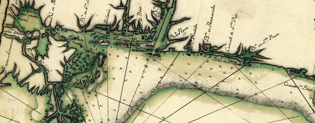Descripsión de la costa de la Luciana y entrada en el Río de Micisipi con sus zonds. y baxos, nuebamte. wide thumbnail image