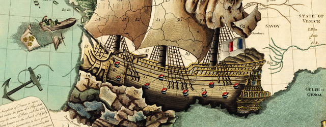 The Kingdom of France is represented under the form of a ship wide thumbnail image