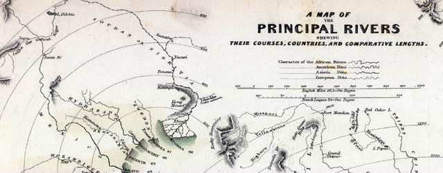 A map of the principal rivers shewing their courses, countries, and comparative lengths. wide thumbnail image