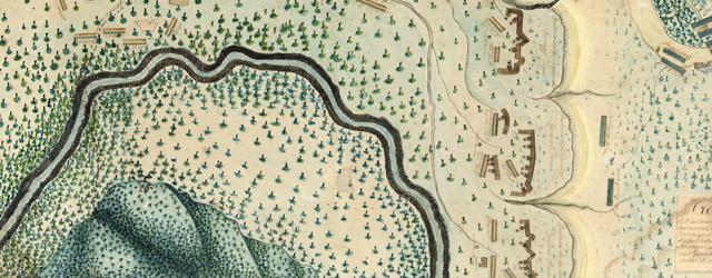 Croquis del terro, camino, bosques, barrancas, cerro y beredas de Cerro-gordo con las posiciones de las topas Mejicanas y Americanas con sus respectivos Generales Cuerpos y Baterias el dis 18 de Abril de 1847 wide thumbnail image