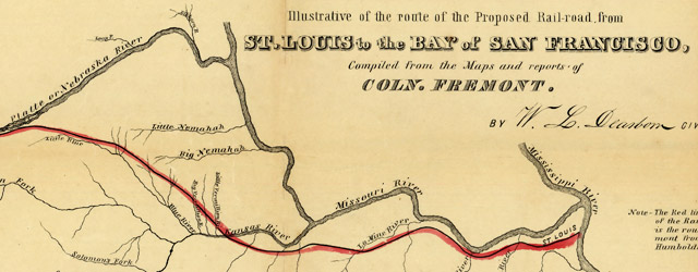 A map illustrative of the route of the proposed railroad : from St. Louis to the Bay of San Francisco wide thumbnail image