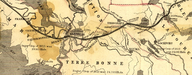 Bayleys Map of Louisiana railroads 1853