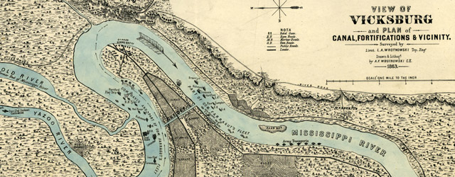 View of Vicksburg and plan of the canal, fortifications & vicinity  wide thumbnail image